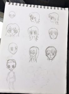 anime manga heads sketch draw art practice