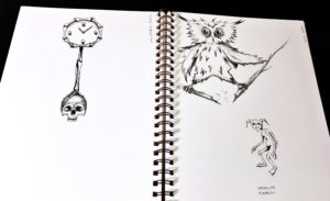 inktober drawlloween clock skeleton bones owl branch break goblin