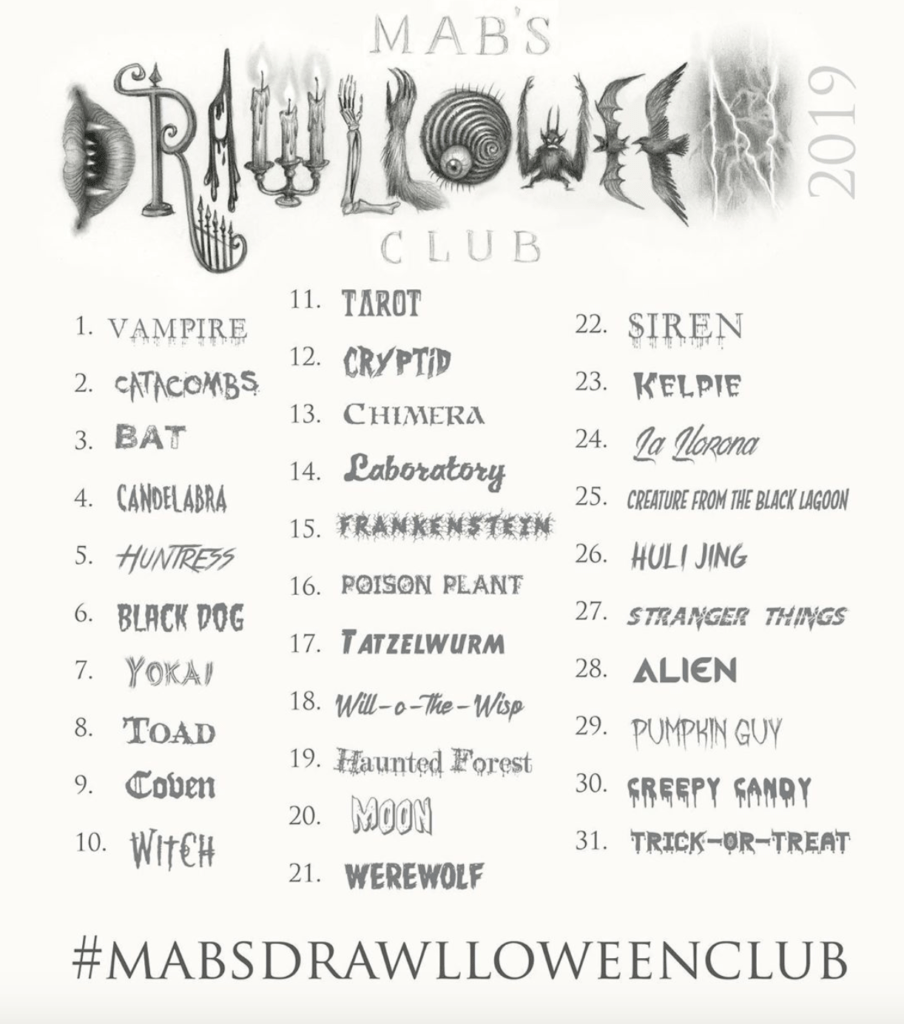 mab graves 2019 drawlloween list